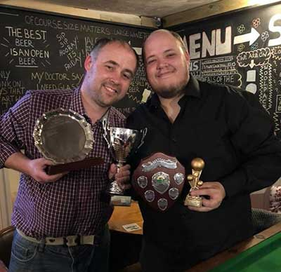 Adam and Simon from Dad's Army with the Cup, Singles and Div2 trophies
