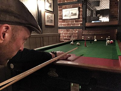 A game of Bar Billiards in progress. Photo courtesy of Mr D Brown